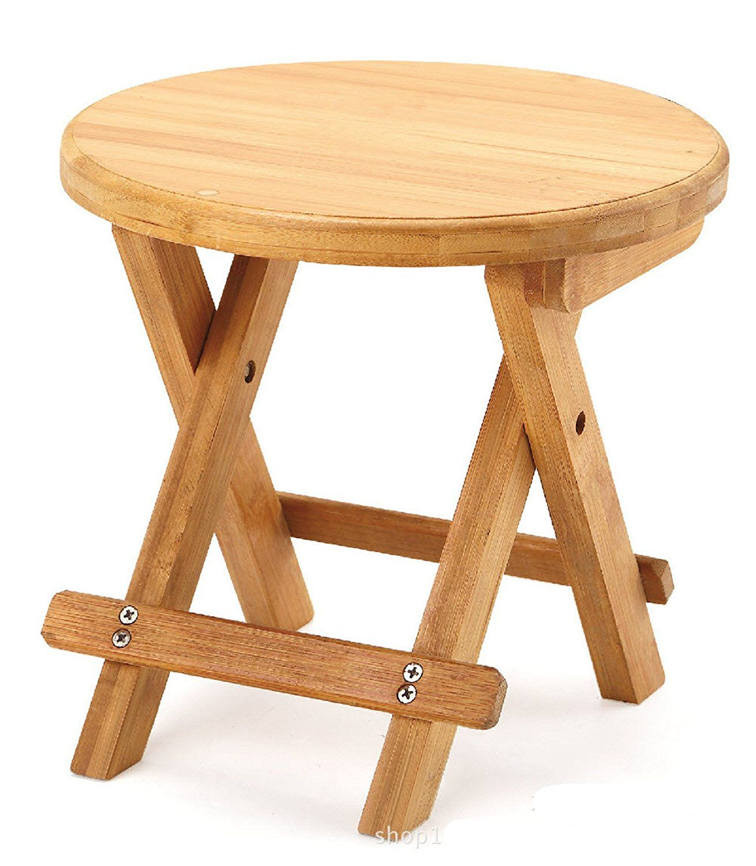 A Little Lemon Wooden Foldable Footstool Fishing Shower Step Stool ...