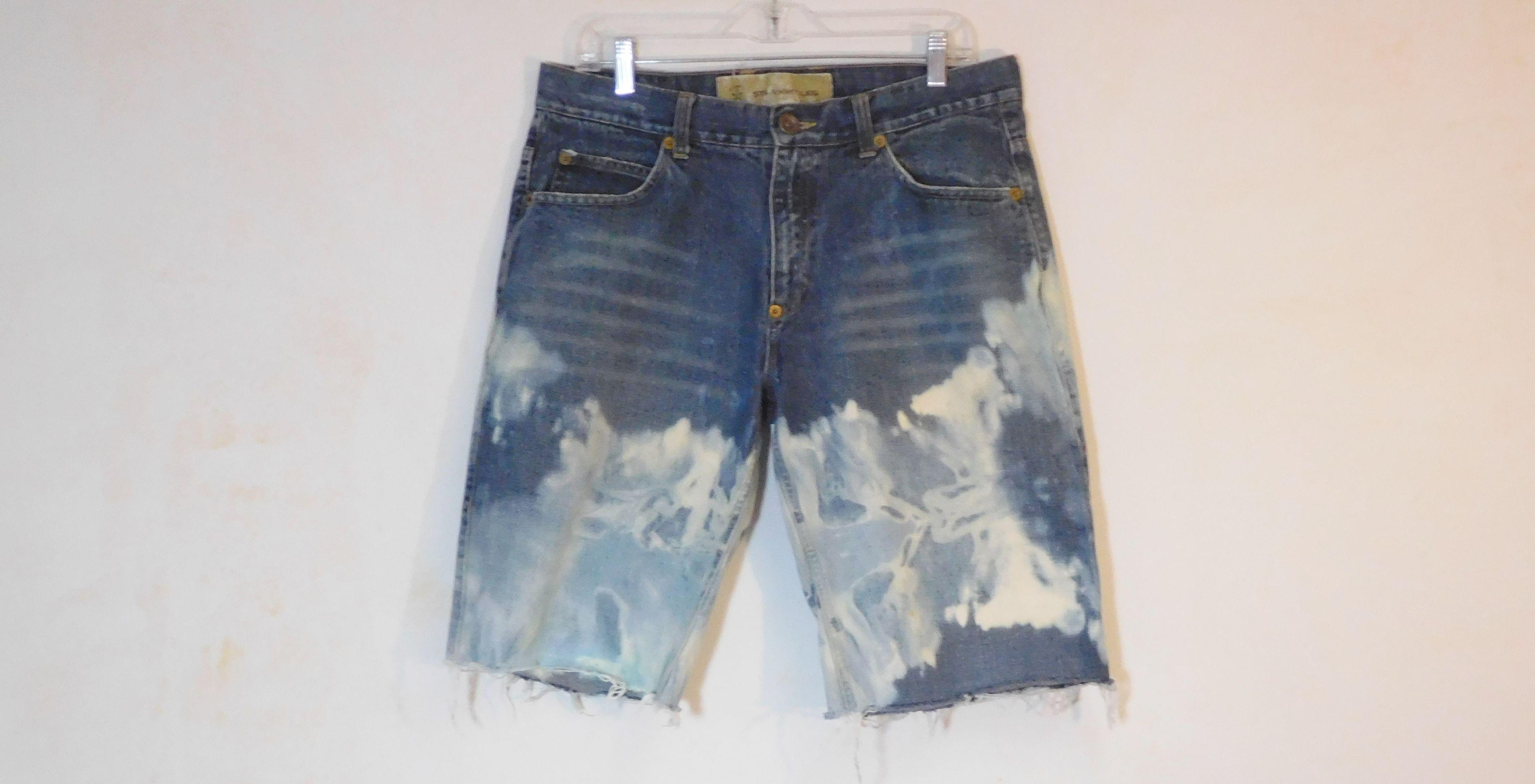 Hombre Casual Ripped Holes Short Jeans Estampado de flores Roll up Denim Shorts Azul r4VnSV