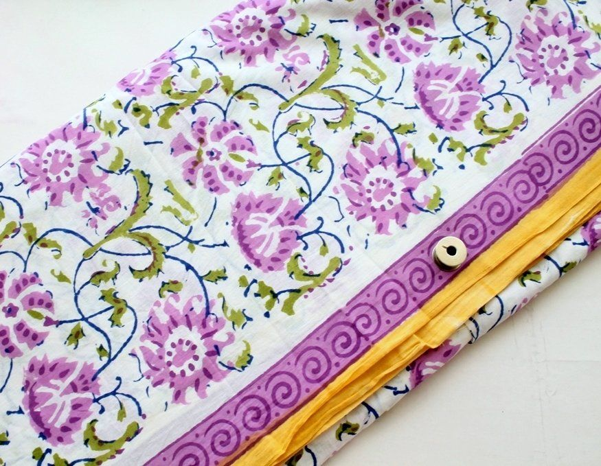 42 Wide Designer Indian Purple Crafting Material Cotton Sewing Fabric By 1 Yd/""