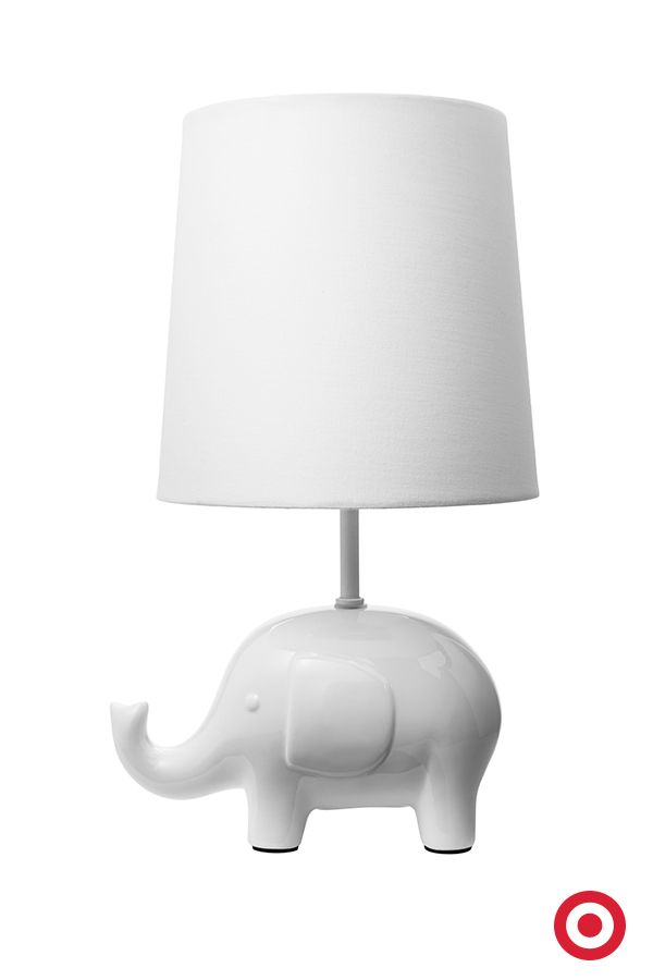 This white elephant table lamp is a perfectly sweet light for the nursery. It provides soft light during story time or while rocking Baby to sleep. And, it easily blends in with most decors.