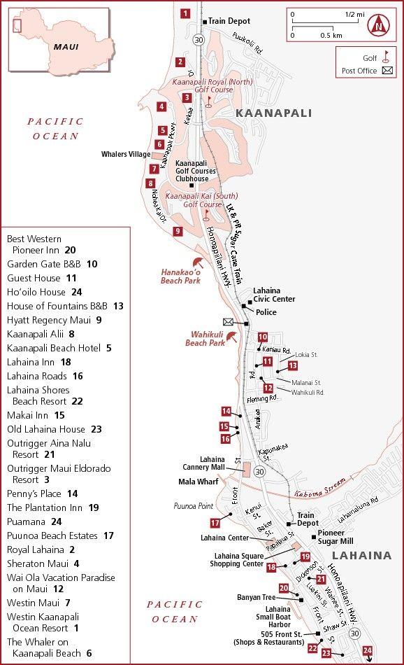 Kaanapali Lahaina Hotel Map