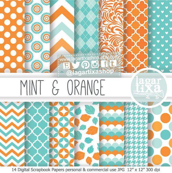 Teal Orange Coral Aqua Mint Turquoise Digital Paper
