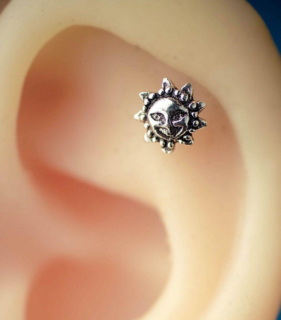 Cartilage Earring Cartilage Piercing 16 Gauge 20g Cartilage Earring Tiny  Sun Apollo Vintage Unique Boho Bohemian