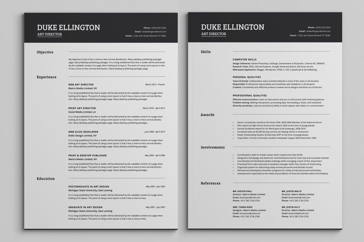 Two Pages Classic Resume CV Template By SNIPESCIENTIST On Creativemarket