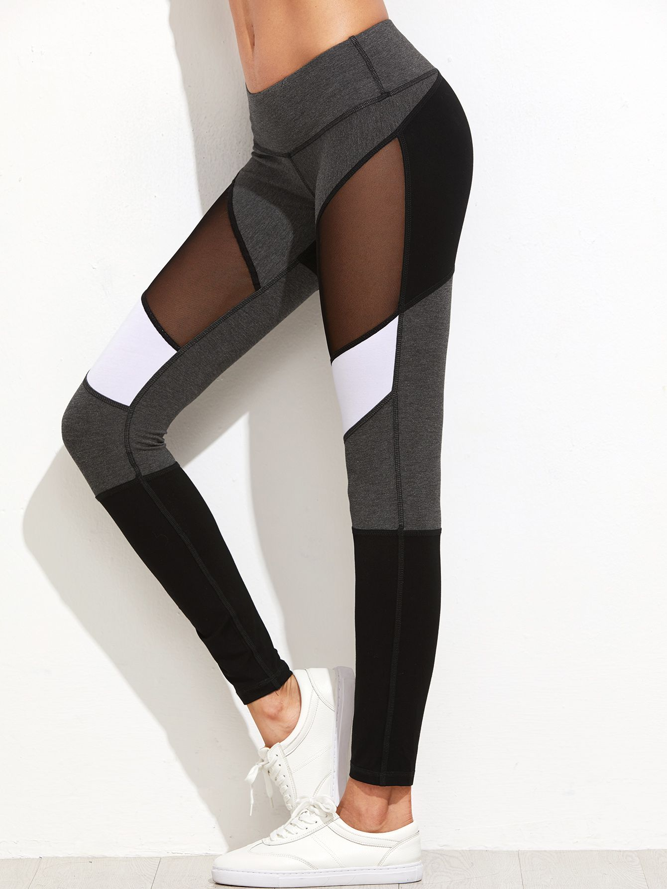 b198288c48be6f Shop Color Block Mesh Insert Leggings online. SheIn offers Color Block Mesh  Insert Leggings & more to fit your fashionable needs.