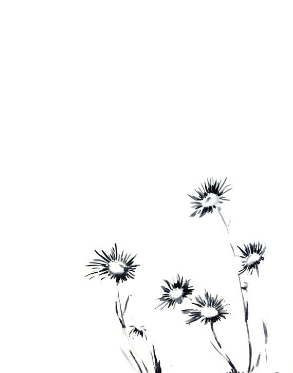 Daisy Flowers Ink Drawing Art Print Minimalist Black And White Floral Modern Wall