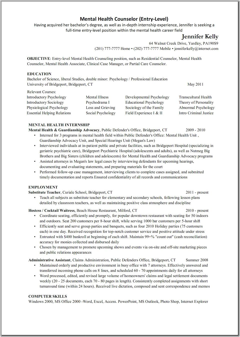 mental health counselor resume objective
