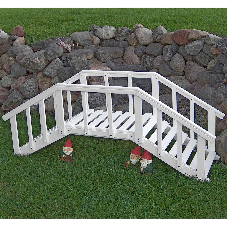 Decorative 6.5-ft White Wood Garden Bridge with Rails in Durable ...