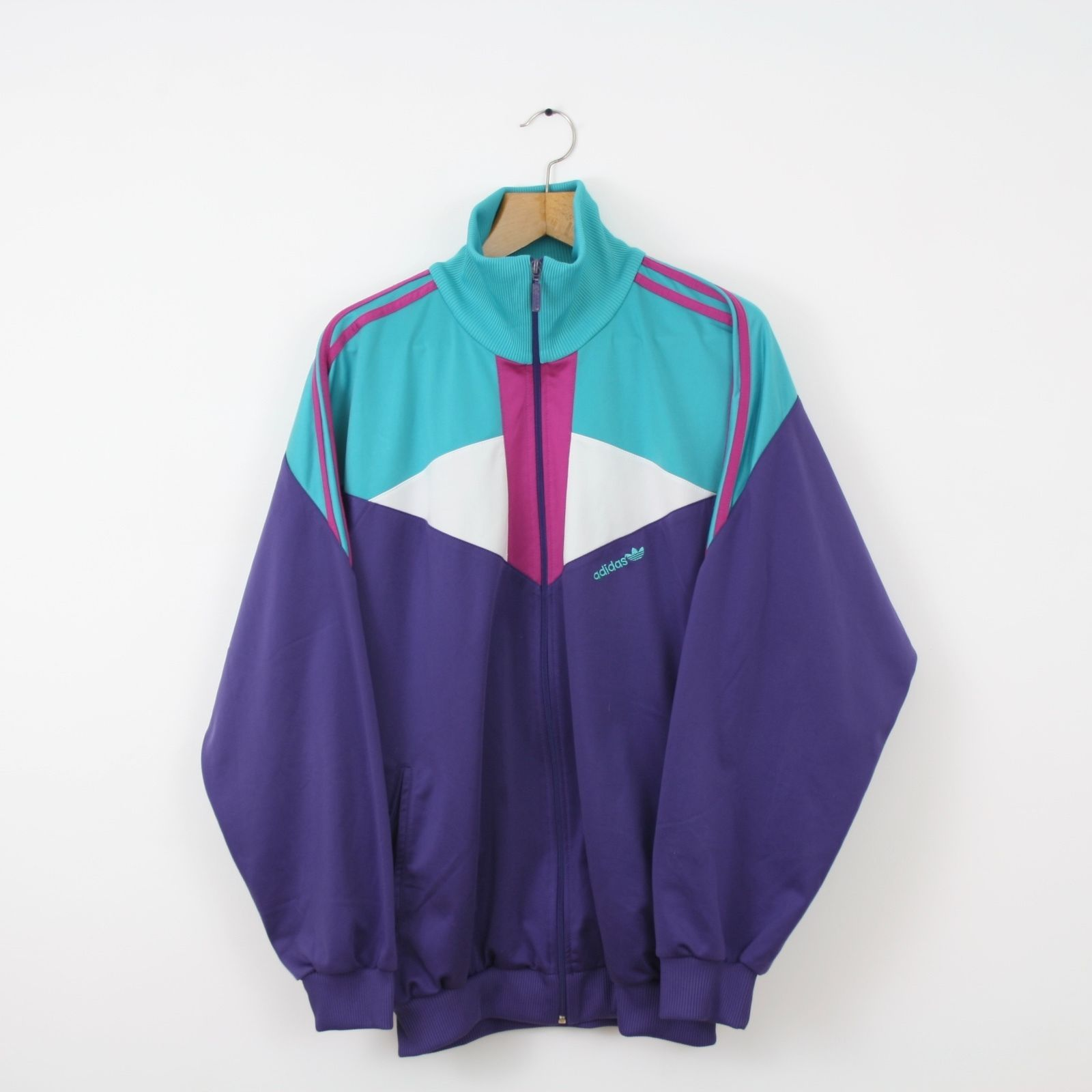 006929ce1ef3 Vintage ADIDAS 80s 90s Purple Green Tracksuit Top Jacket