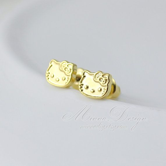 05ad8d1eb Hello Kitty Earrings, Cute Tiny Hello Kitty Stud Earrings , 18K Gold  Plated, Cute Earring Studs, Gift For Her on Etsy, $6.90