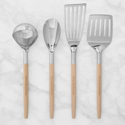 Stainless Steel Utensils With Wooden Handle Set Of 4 Copper