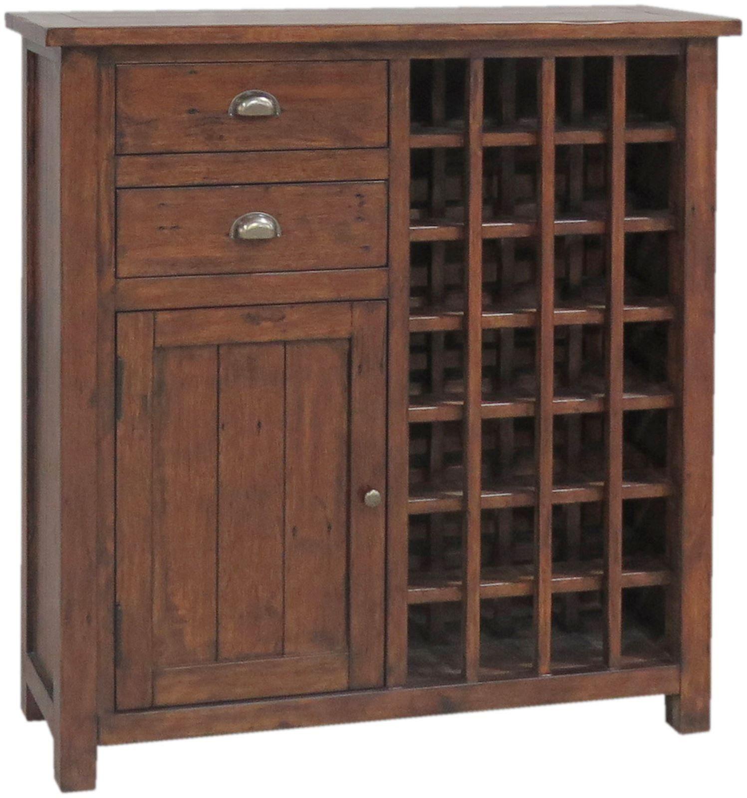 Delightful Classic Driftwood Reclaimed Pine 24 Bottle Cabinet