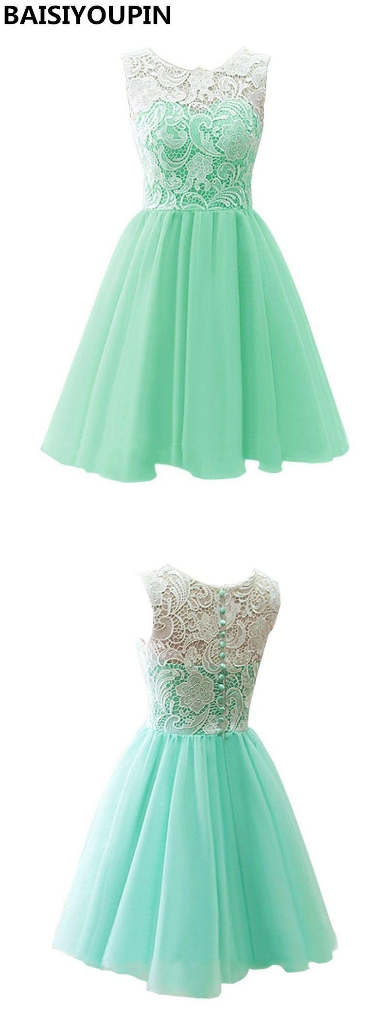 Short bridesmaid dresses cheap a line lace top chiffon party dresses