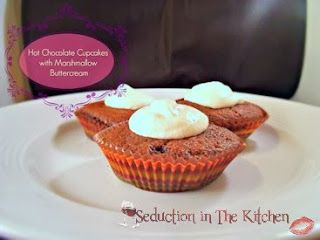 Hot Chocolate Cupcakes with Marshmallow Buttercream | Seduction In The Kitchen