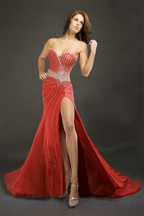 red evening gowns | ... Bodice Beading Chiffon Red Beautiful ...