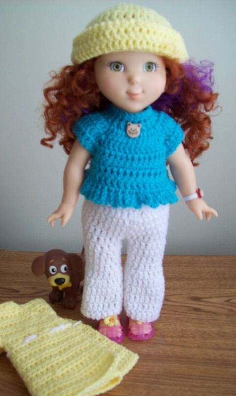 Free 18 American Girl Doll Crochet Pants Top Hat And Coat Outfit