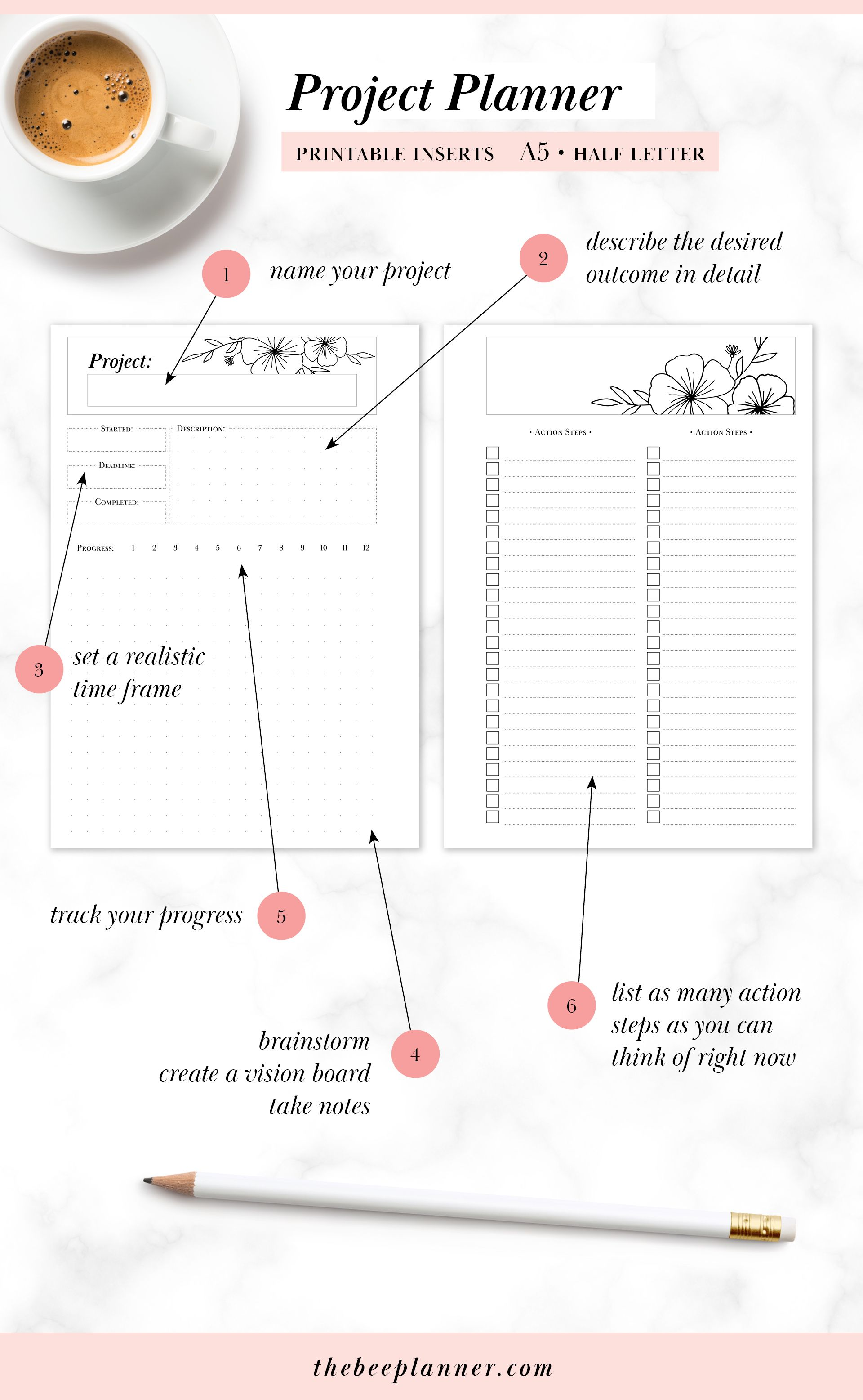 A5 Half Letter Printable Goal Amp Project Planner