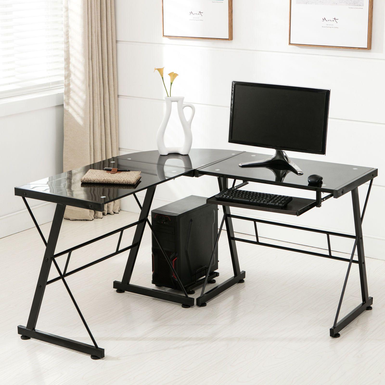 Stupendous L Shape Corner Computer Desk Pc Glass Laptop Table Beutiful Home Inspiration Xortanetmahrainfo