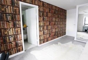 Bec And George The Block Sky High   Bookcase Wallpaper