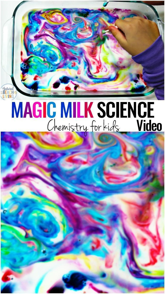 Magic Milk Science Experiment for Kids with Video - Montessori Science - Natural Beach Living #scienceexperimentsforpreschoolers The Magic Milk Science Experiment is a fun and simple experiment for Kids of all ages. It's a great Science idea for preschoolers and Kindergarten as an introduction to learning Chemistry. This color changing milk experiment is guaranteed to become one of your favorite Science activities for preschoolers and kitchen science experiments. #science #scienceforkids #montes