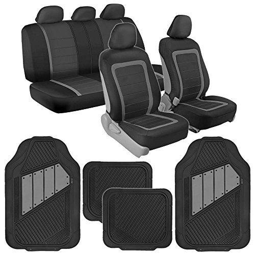 BDK Advanced Performance Black Gray Charcoal Car Seat Covers Heavy Duty Rubber Floor Mats Combo W Motor Trend 2 Tone