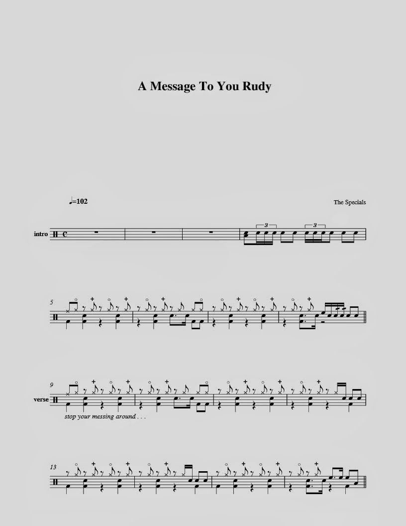 The Specials A Message To You Rudy Messages Sheet Music Special