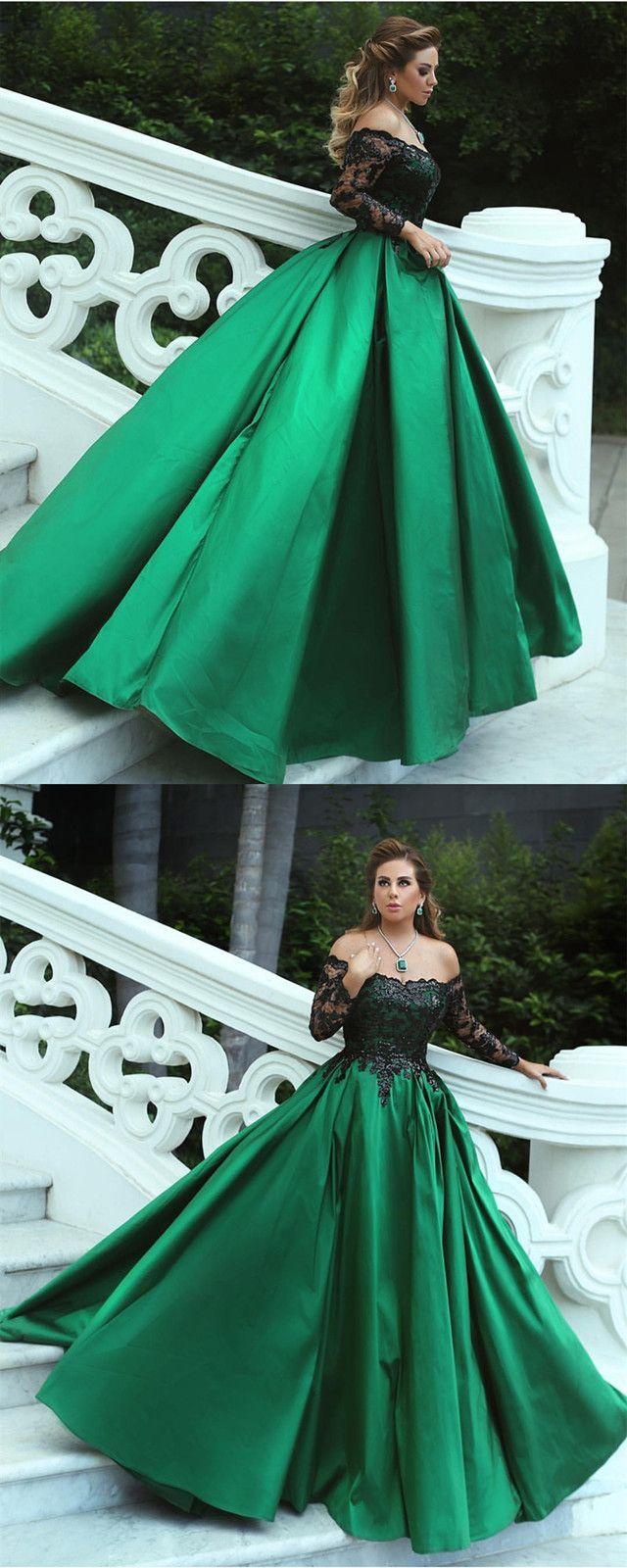 Black sequins lace long sleeves satin ball gowns off the shoulder Šaty
