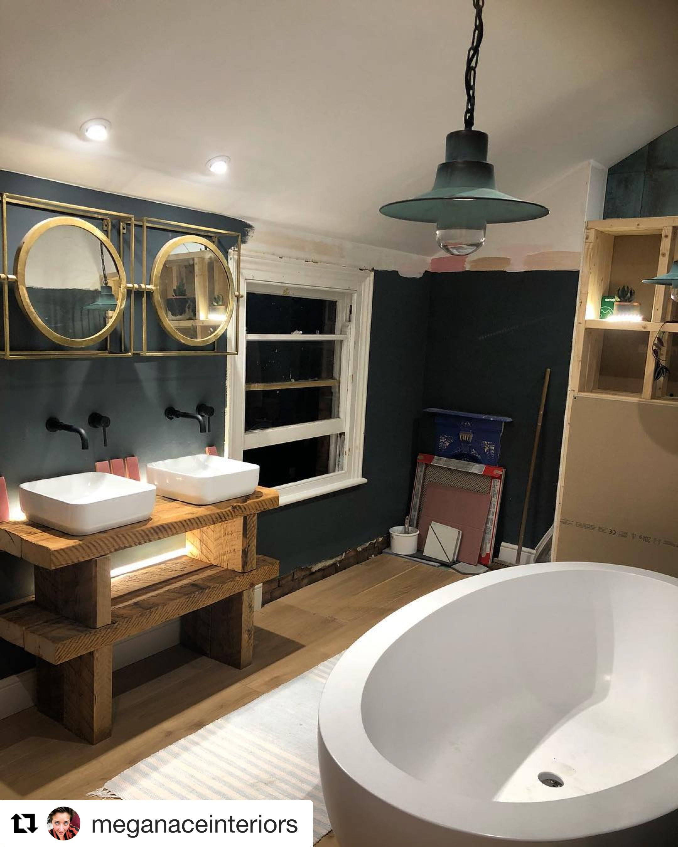 This Wonderful Bathroom Was Shared With Us By Victoriaplum Com Customer Meganaceinteriors Those Por With Images Cheap Bathroom Faucets Bathrooms Remodel Porthole Mirror