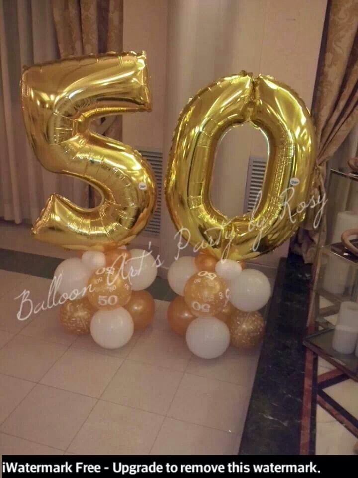 50th Birthday Party Gold Balloons Balloon Centerpieces Decorations Foil Ideas Nice Nomi