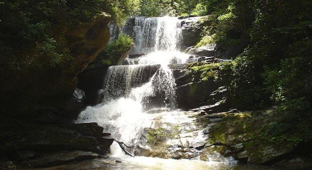 Little Bradley Falls in Saluda, NC. Hike is along Cove Creek