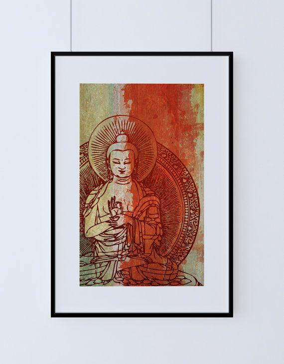 Indian Budha Print Vintage Hindu Decor Budhist Wall Art - Giclee ...