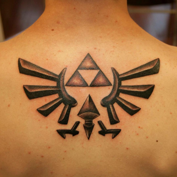 This classic Triforce back tattoo