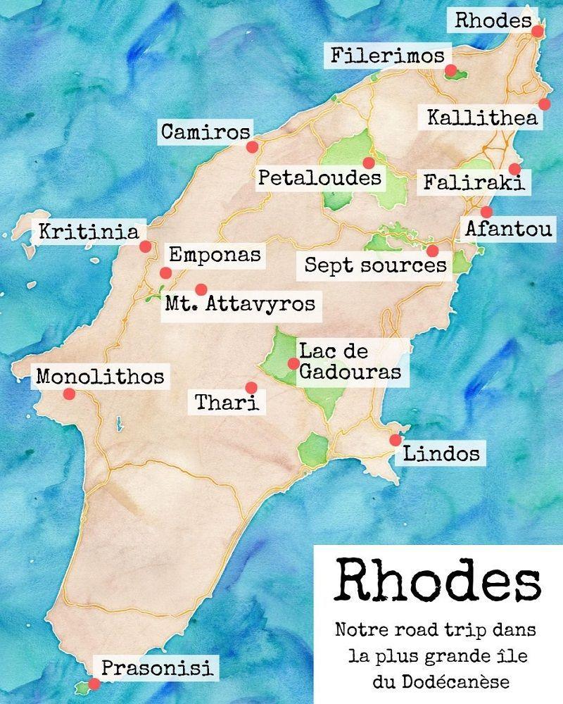 Ile de Rhodes carte du monde