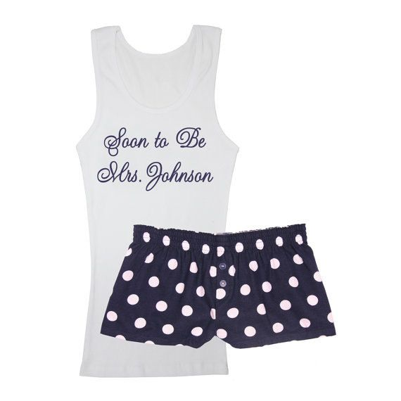 ce43188e6e FIND Personalized Bridal Pajamas here at Bridal Party Robe Shop! This  2-piece personalized set includes a customized tank top and navy and white  polka dot ...