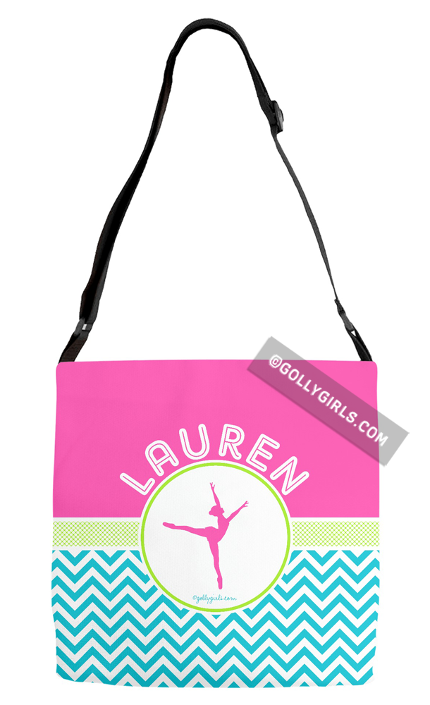 Golly Girls: Personalized Multi-Color Chevron Dance Adjustable Strap Tote Bag only at gollygirls.com