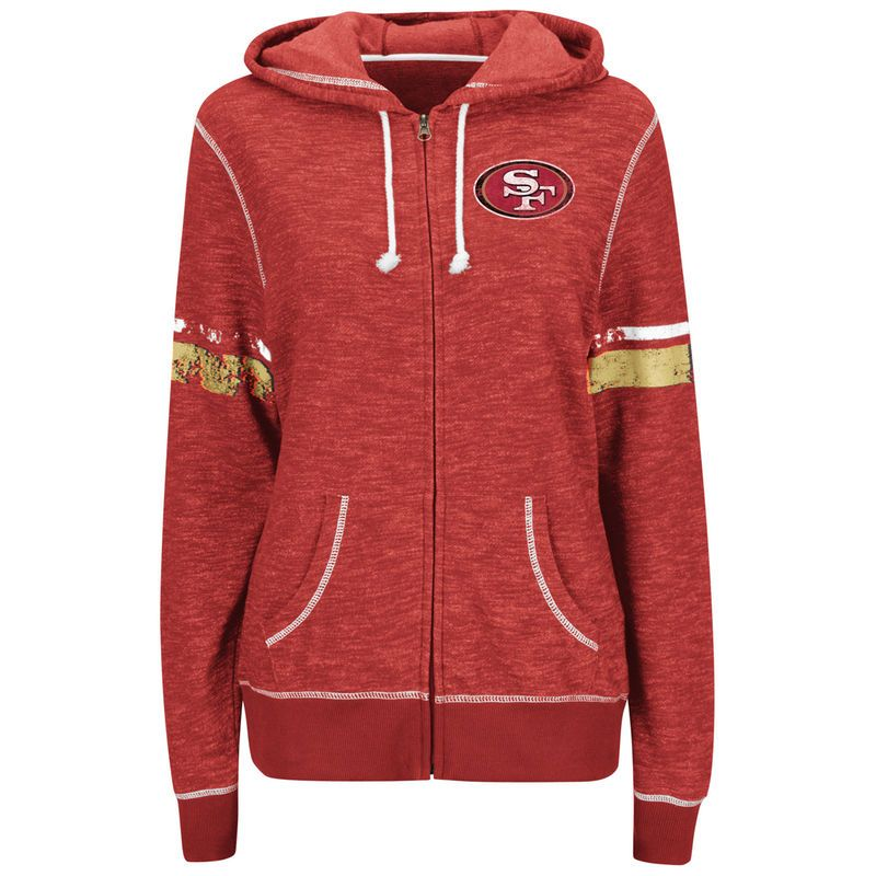 San Francisco 49ers Majestic Women s Athletic Tradition Full-Zip Hoodie -  Scarlet dd3280c23