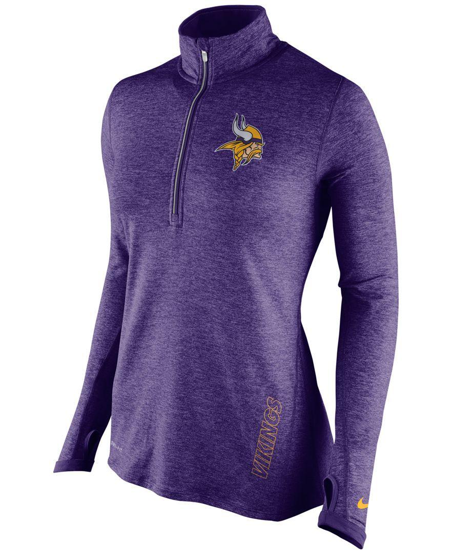 Nike Women s Minnesota Vikings Stadium Element Quarter-Zip Pullover ... dce7759be