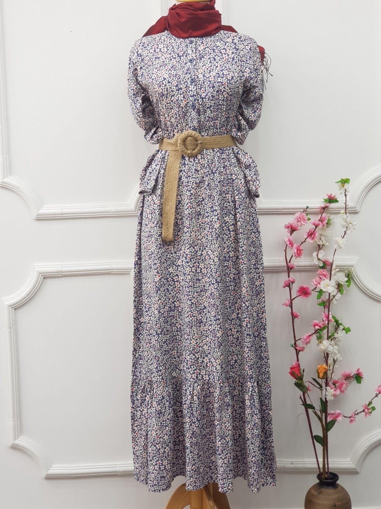 Citir Desen Viskon Elbise Mavi Elbise Giyim The Dress