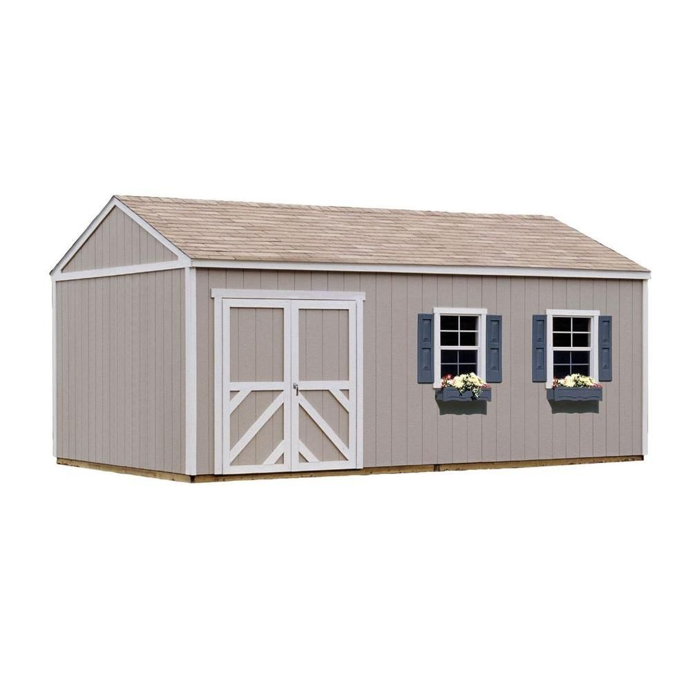 Handy Home Products Columbia 12 Ft X 20 Ft Wood Storage Building Kit Multi Built In Storage Wood Storage Sheds Garden Tool Shed