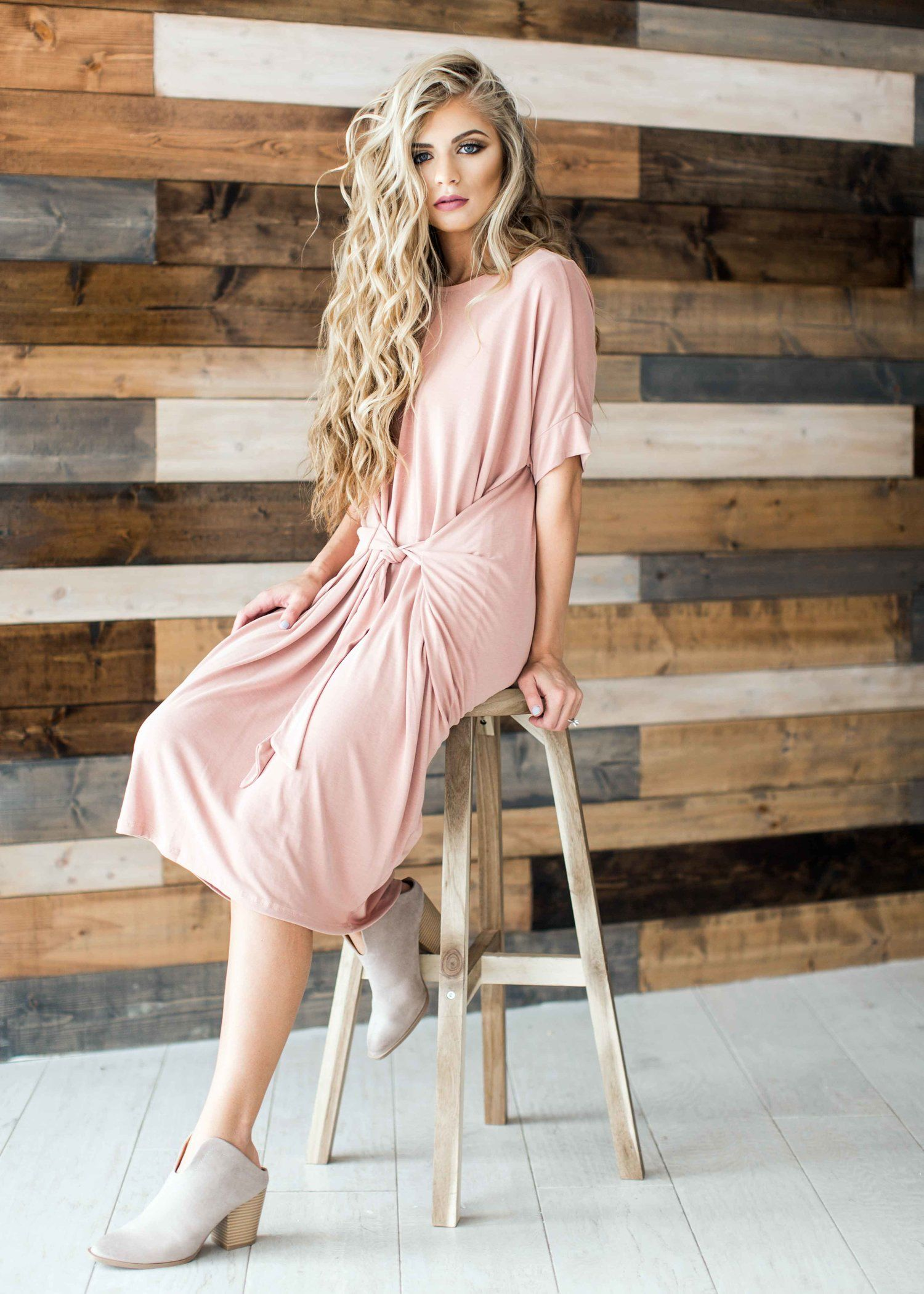 Makeup with light pink dress  pink dress blonde jessakae easter dress spring dress midi dress