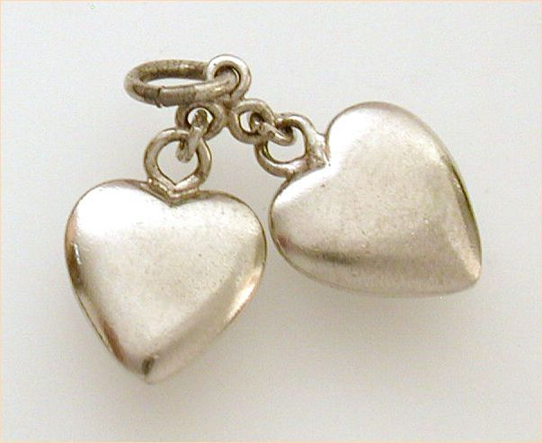 Pair Small Plain Sterling Puffy Hearts Charm by Wells from industrialblonde on Ruby Lane