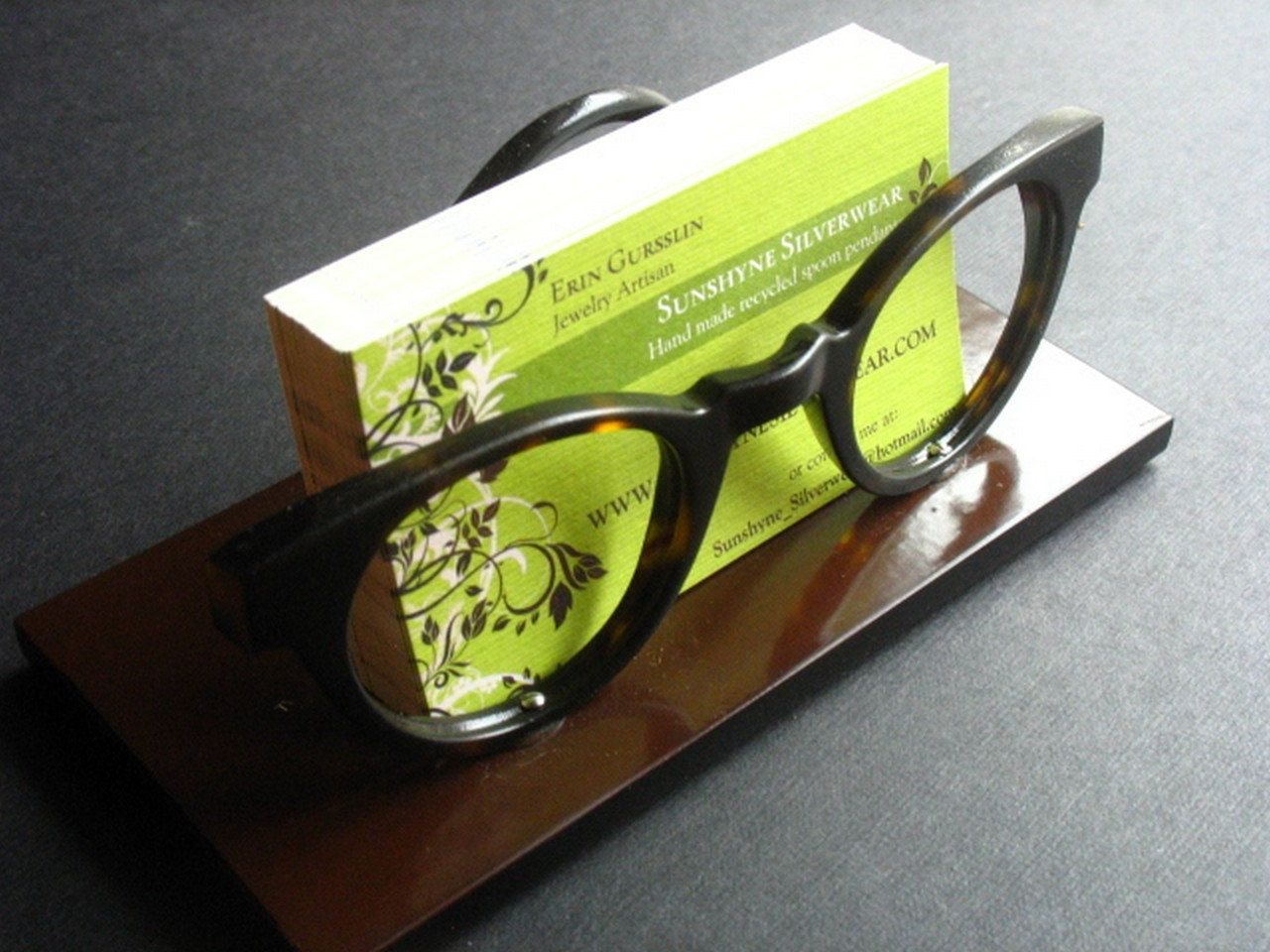 Business card holder made from vintage glasses frames, eco friendly ...