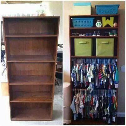 No Closet Problem Convert A Bookshelf Into