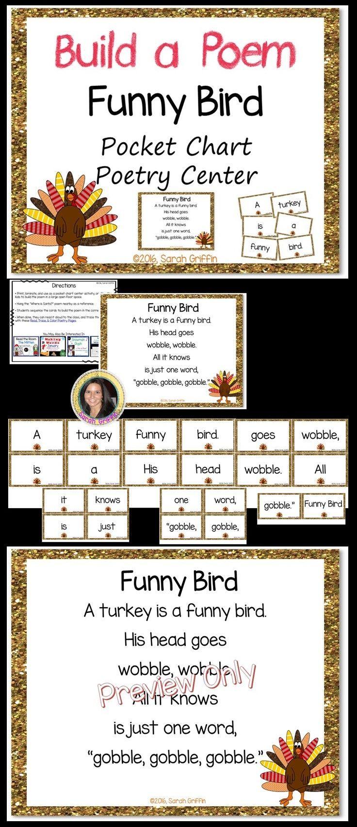 Build a Poem ~ Funny Bird ~ Thanksgiving turkey poem for pocket chart center