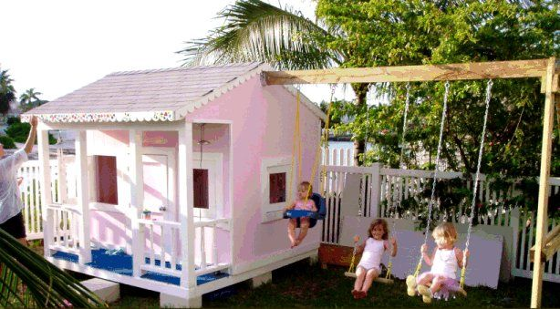 Playhouse Designs And Ideas cubbyhouse kits diy handyman cubby house cubbie house accessories plans Not A Huge Fan Of The Actual House But The Attached Swing Set Is A Good