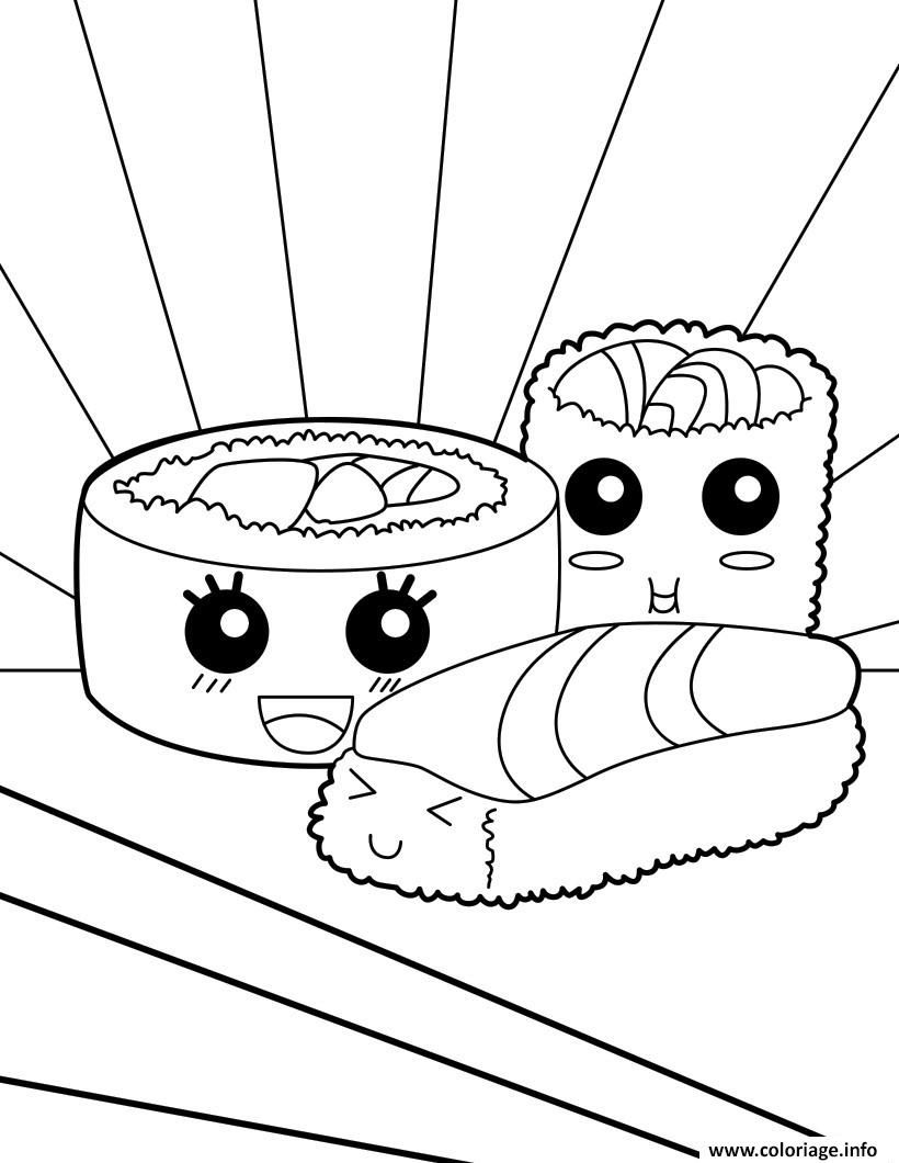 Coloriage Kawaii Food Sushi à Imprimer Coloriage Kawaii