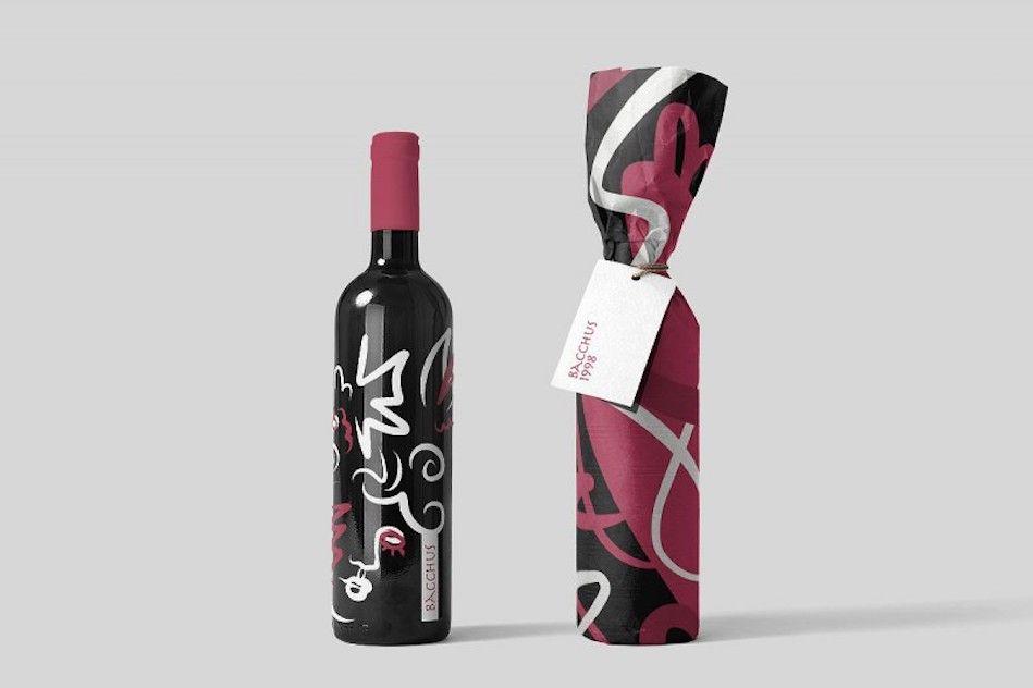 Vino Bottiglie Di Vino Con Illustrazioni Astratte Ispirate E