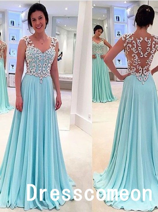 New Design White Lace Sky Blue Long | Long prom dresses, A line ...