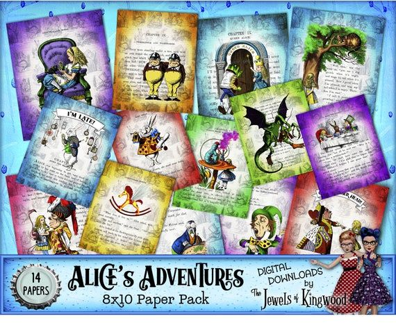 Alice in Wonderland Paper – 8×10 inch Journal Pages – Printable Digital Scrapbook Paper –  Instant D