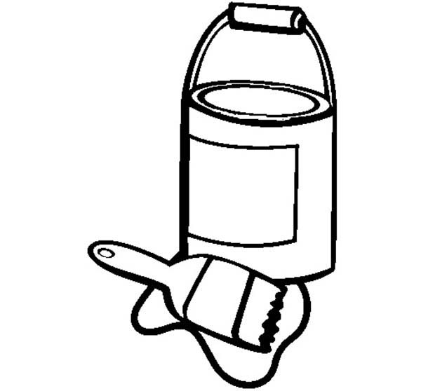 An Opened Paint Can And Paint Brush Coloring Page Coloring Sky Paint Brush Drawing Paint Icon Paint Cans